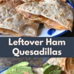 These five ingredient Oven Baked Leftover Ham Quesadillas are such an easy, cheesy, kid-friendly dinner idea for leftover ham! You can't beat a simple 30 minute weeknight meal.