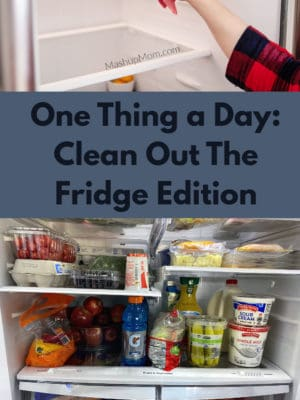 One thing a day: What one food-related thing will you do today, to make your life a little easier later? Today, I cleaned out my fridge!