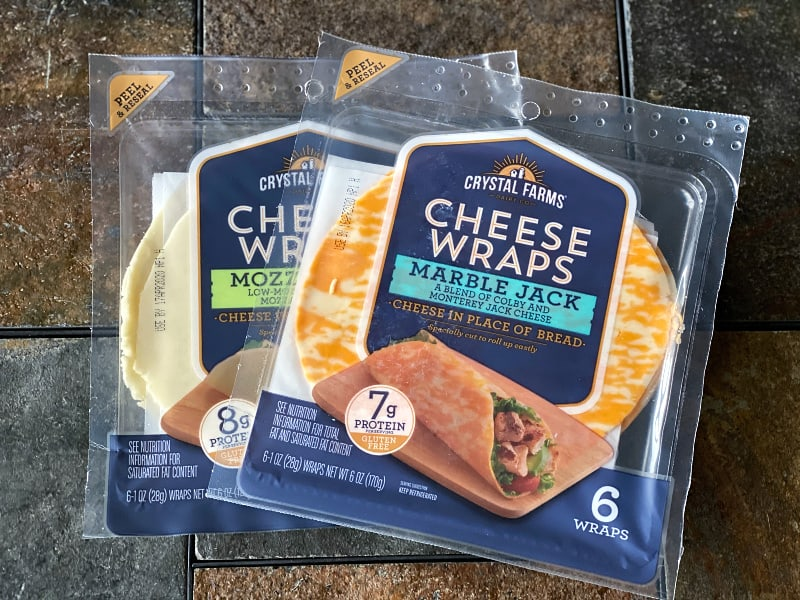 Crystal Farms Cheese Wraps come in mozzarella and marble jack