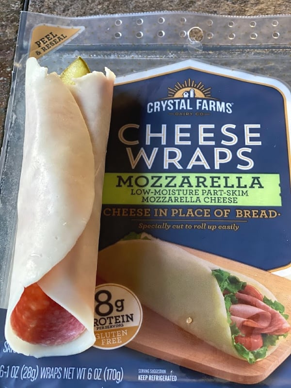 Crystal Farms Cheese Wraps with salami and a pickle
