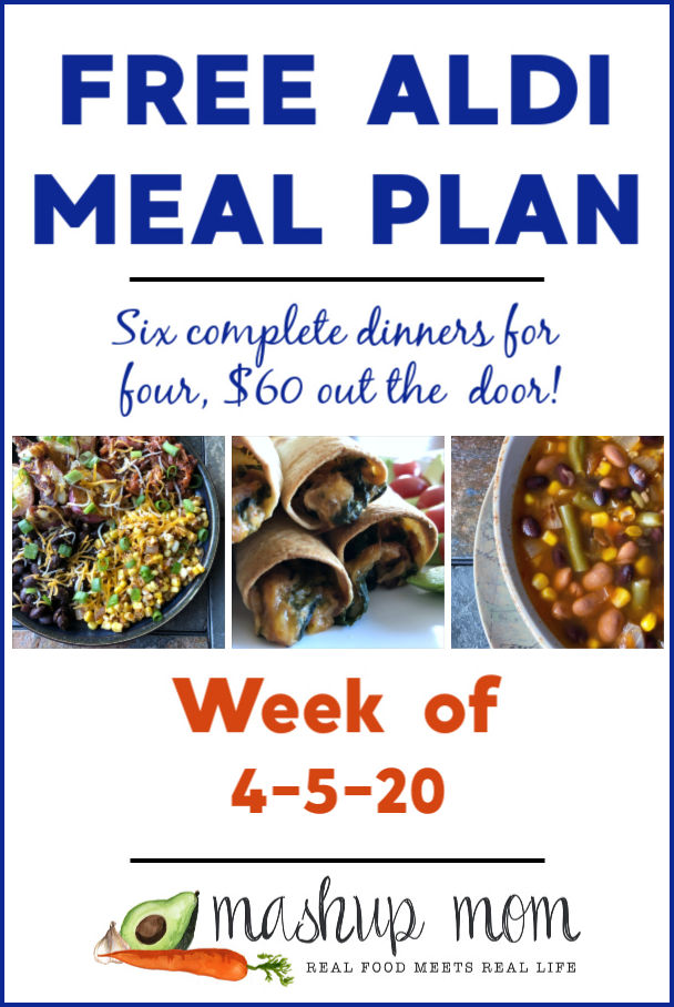 Free ALDI Meal Plan week of 4/5/20 - 4/11/20: Six complete dinners for four, $60 out the door! Save time and money with meal planning, and find new free ALDI meal plans each week.