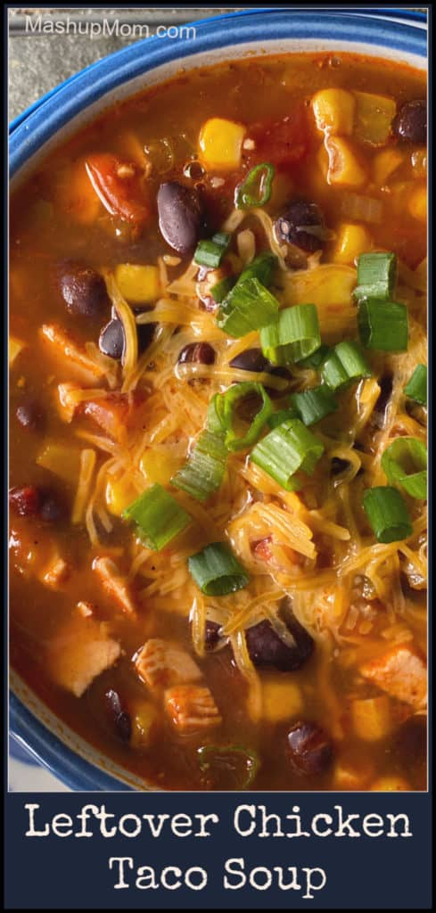 Leftover Chicken Taco Soup is an easy way to spice up leftover chicken and create an entirely new meal! This easy chicken taco soup recipe is just so satisfying & flavorful, with a bit of underlying heat.