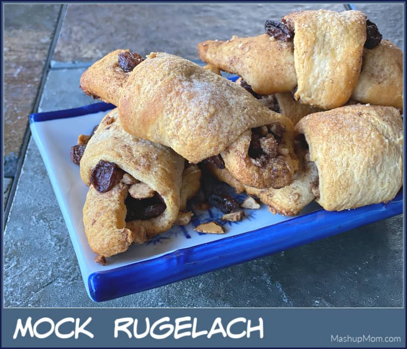 How to make Mock Rugelach with crescent roll dough -- just for fun, with only six ingredients! (And, to satisfy all of those cinnamon-raisin-y cravings.)