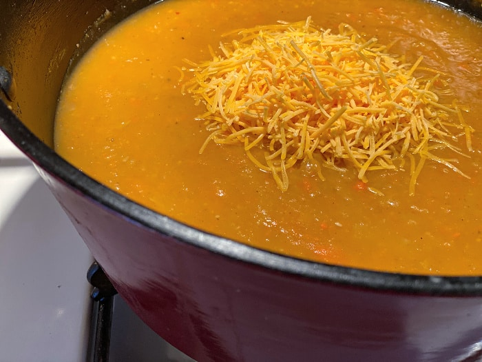 add the cheese to your salsa potato soup
