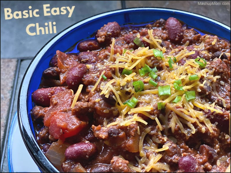Basic Easy Chili made with ground beef and beans
