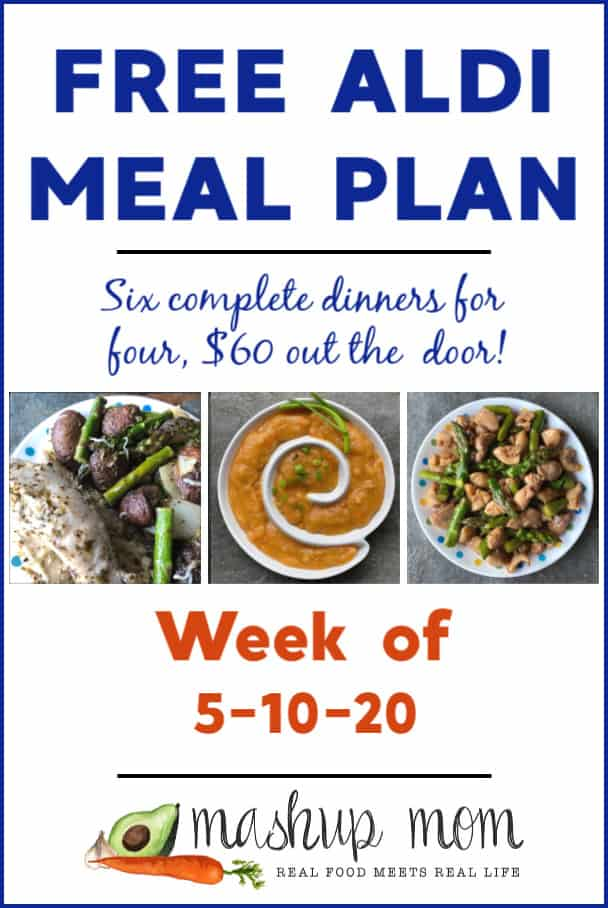 Free ALDI Meal Plan week of 5/10/20 - 5/16/20: Six complete dinners for four, $60 out the door! Save time and money with meal planning, and find new free ALDI meal plans every week.
