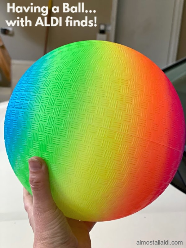 rainbow playground ball in this week's ALDI Finds