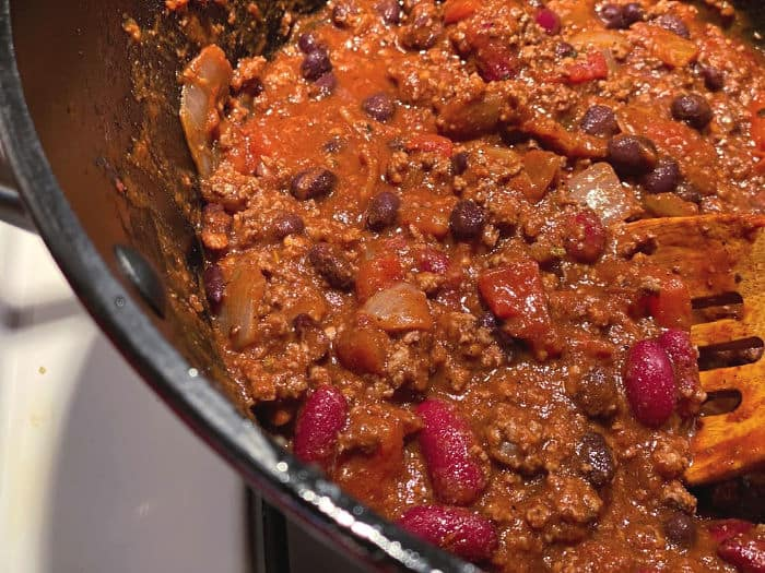 pot of chili with beef and beans