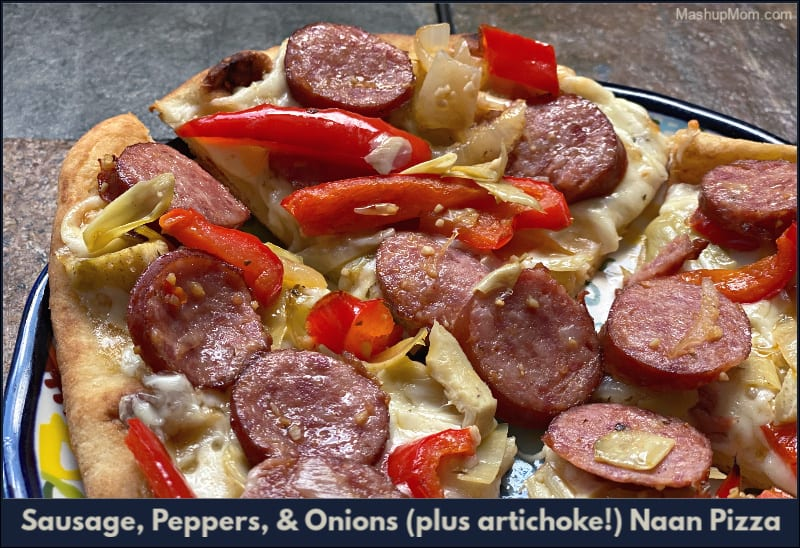 Sausage, Peppers, & Onions (plus artichoke!) Naan Pizza drops a classic flavor combo onto a chewy flatbread crust, then punches everything up with tangy artichokes and smooth mozzarella.
