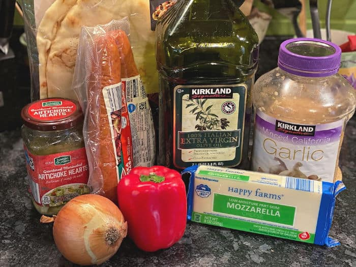 sausage, peppers, & onions pizza ingredients