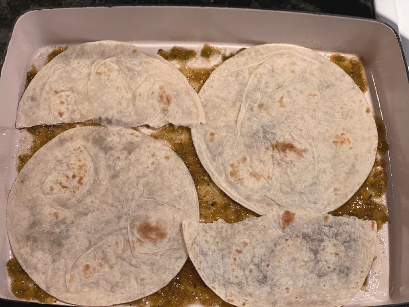 arrange tortillas in baking dish