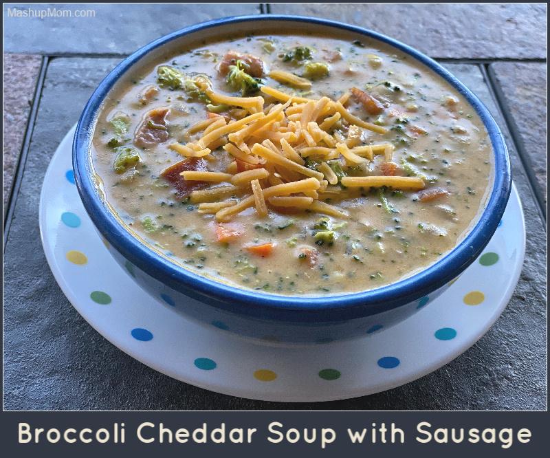 Broccoli cheddar soup with smoked sausage