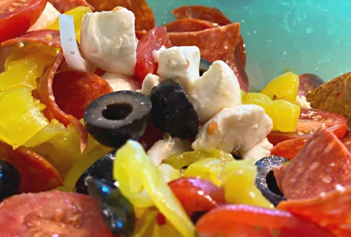 chop up pasta salad ingredients