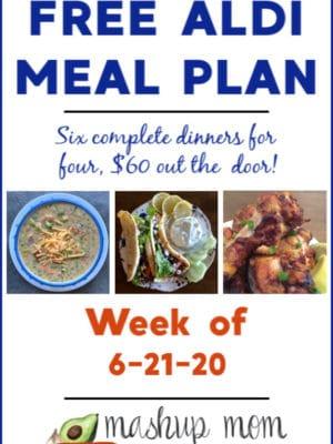 free ALDI meal plan week of 6/21/20