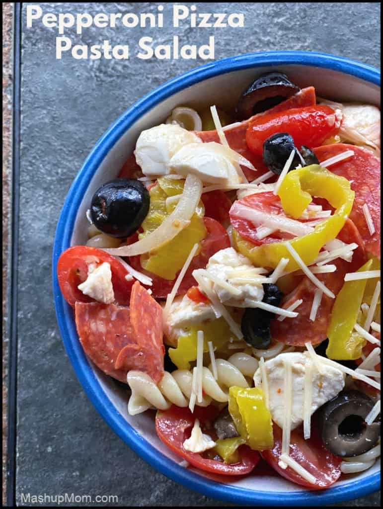 Pepperoni Pizza Pasta Salad packs all your favorite toppings in a cool summer's meal.