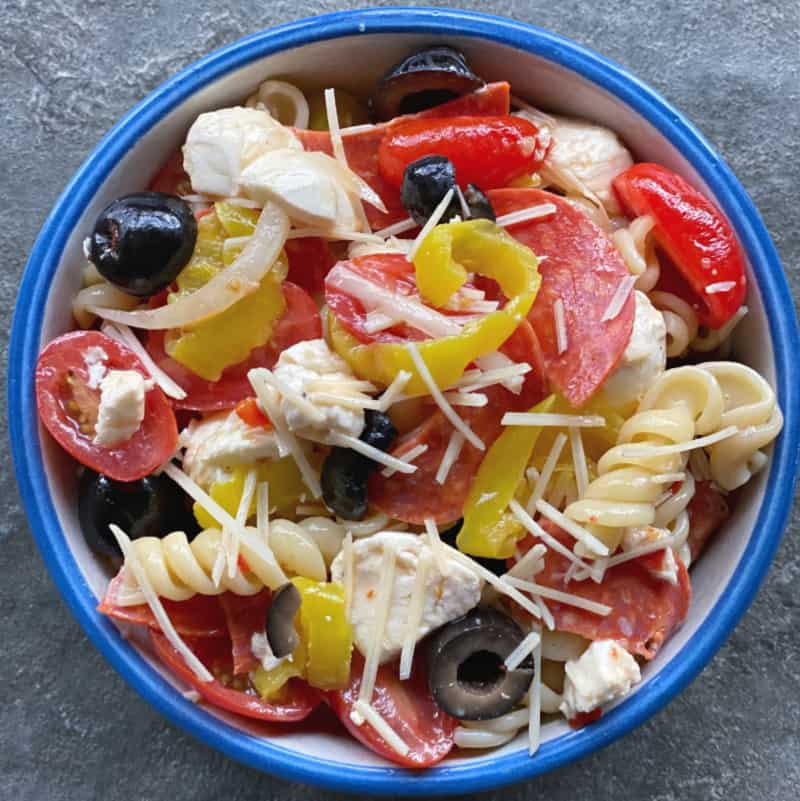 Bowl of pizza pasta salad