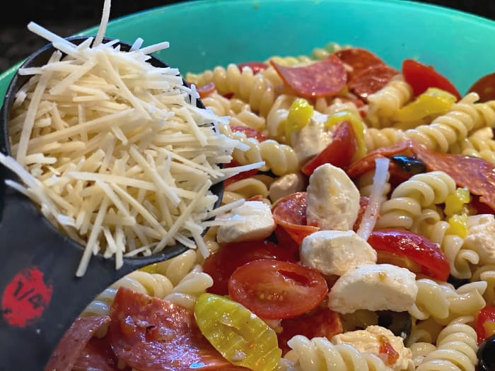 top pasta salad with Parmesan cheese
