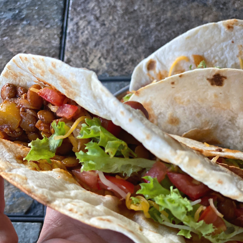 Vegetarian soft taco, made with lentils