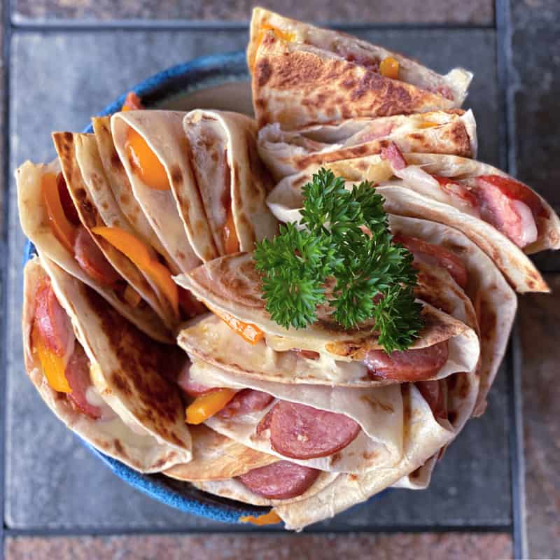 quesadillas stuffed with kielbasa and peppers