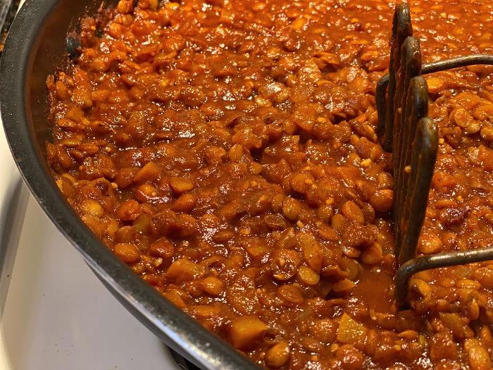 slightly mash the lentil mixture