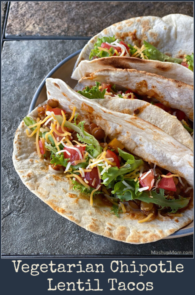 Vegetarian chipotle lentil tacos are filling and flavorful.