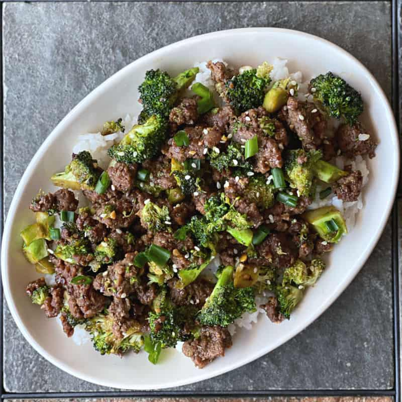 ground beef and broccoli stir fried together