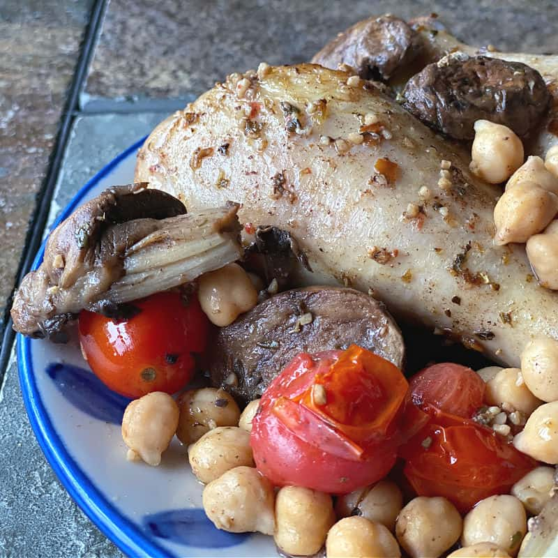 finished chicken, tomatoes, mushrooms, and chickpeas