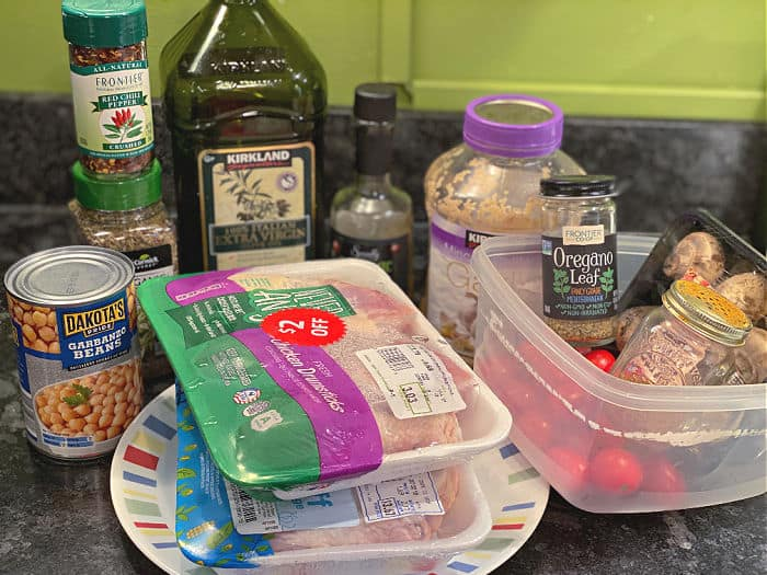 ingredients for chicken drumsticks with chickpeas