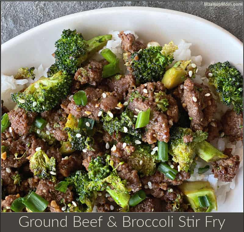 a 20 minute ground beef & broccoli stir fry weeknight dinner