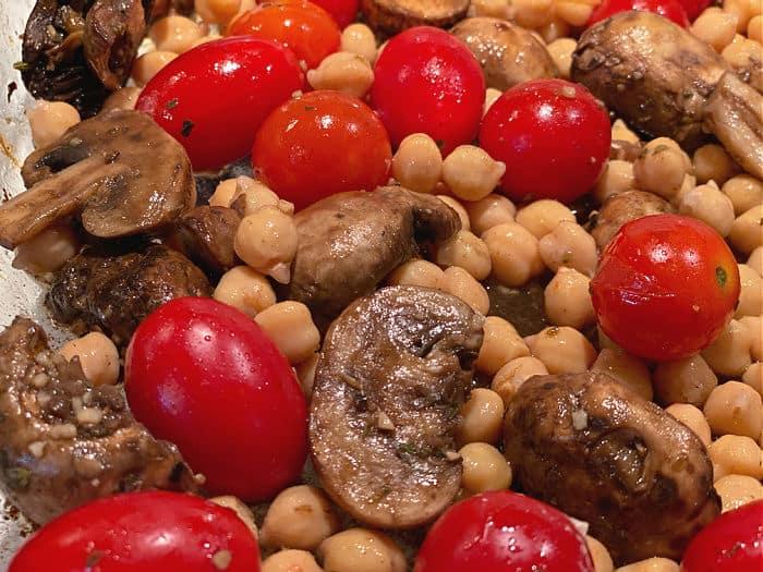 mushrooms, tomatoes, and chickpeas