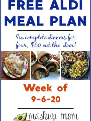 Mashup Mom ALDI Meal Plan week of 9/6/20: Six dinners for four, $60.