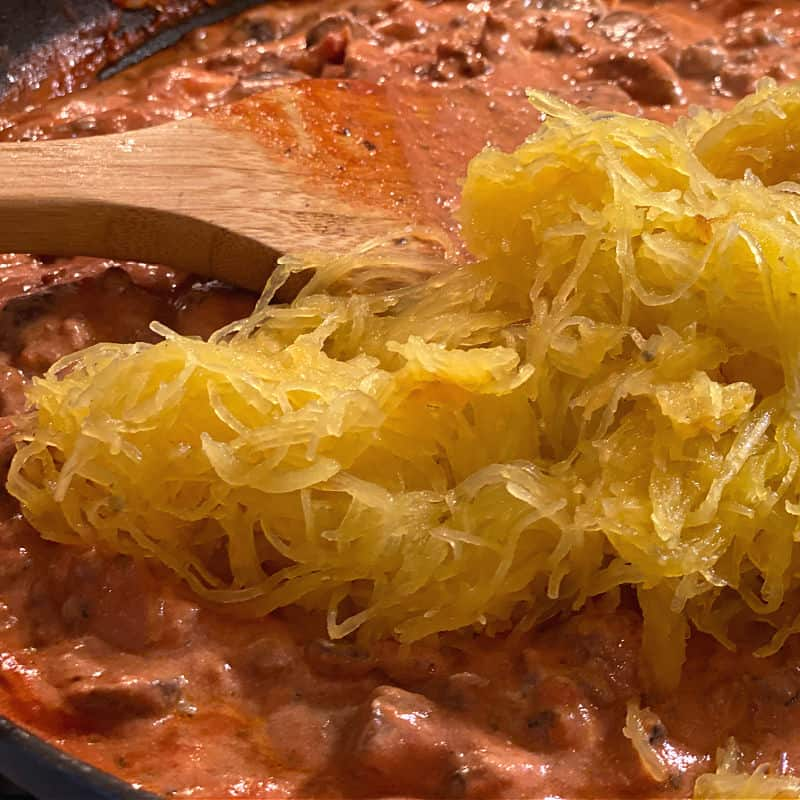 stir spaghetti squash into the pasta