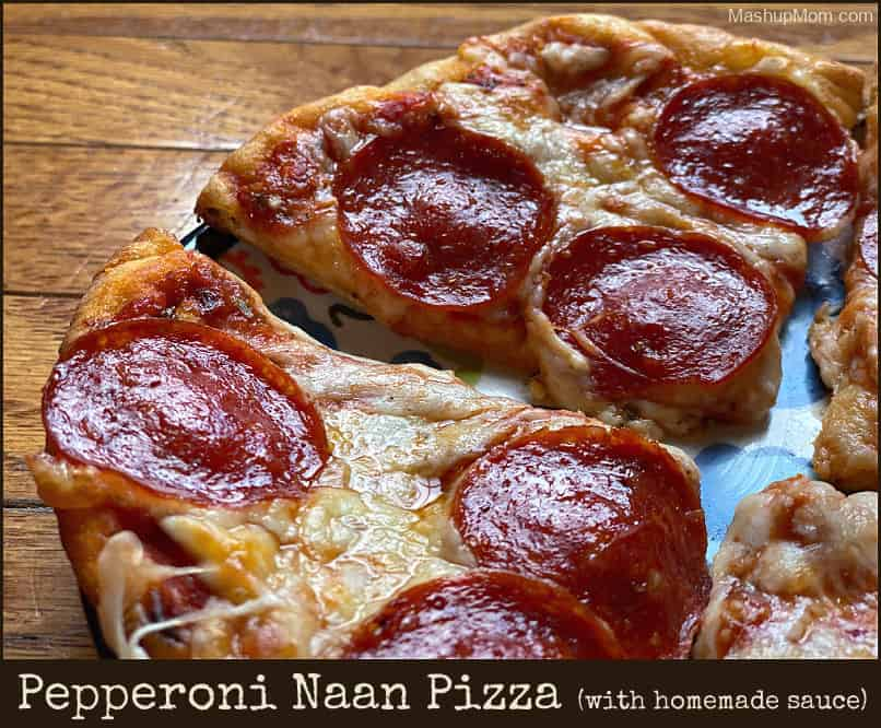 easy pepperoni naan pizza