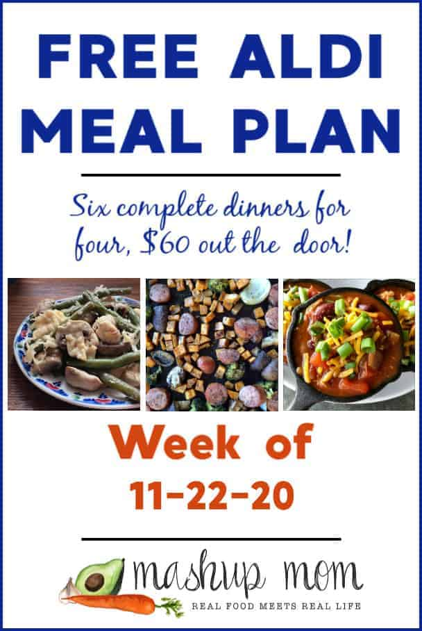 Free ALDI Meal Plan week of 11/22/20: Six dinners for four, $60!