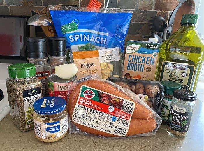 ingredients for kielbasa tortellini soup