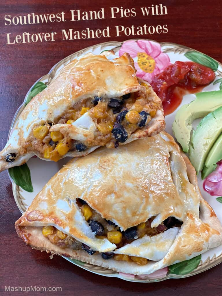 Southwest flavor in leftover mashed potatoes hand pies, with black beans & corn.