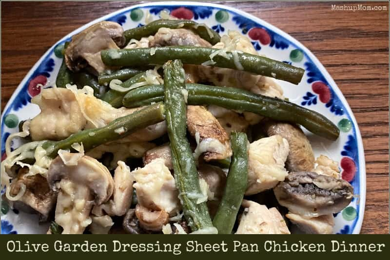 This sheet pan chicken dinner with Olive Garden dressing uses just five ingredients!