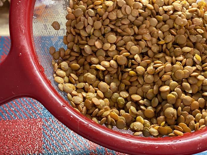 rinsed green lentils