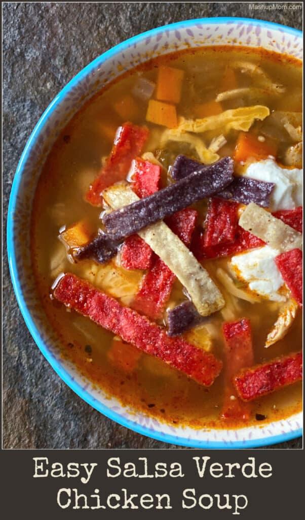 Easy Salsa Verde Chicken Soup is spicy comfort food goodness, using leftover chicken + salsa!