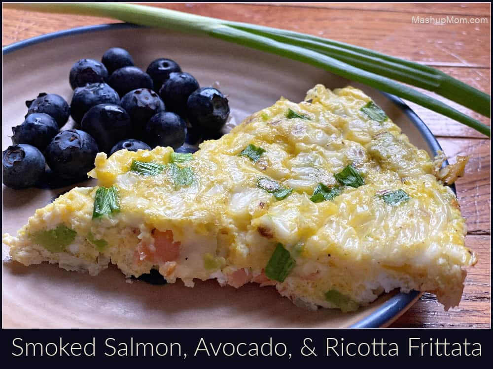 Smoked salmon avocado frittata -- with ricotta! An easy cast iron skillet dinner, breakfast, or brunch.