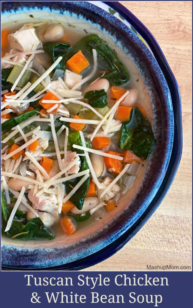 Turn leftover chicken into Tuscan Style chicken & white bean soup