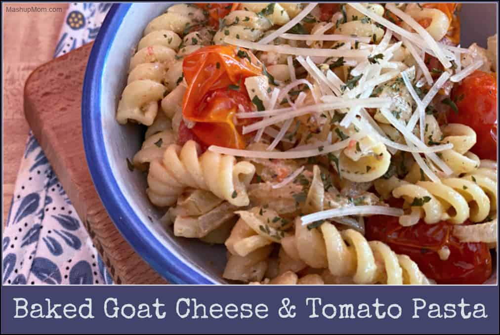 Baked Goat Cheese & Tomato Pasta features ALDI's garlic herb goat cheese & fresh grape tomatoes in a flavorful vegetarian weeknight dinner.