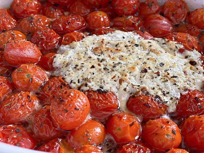 browned goat cheese and tomatoes