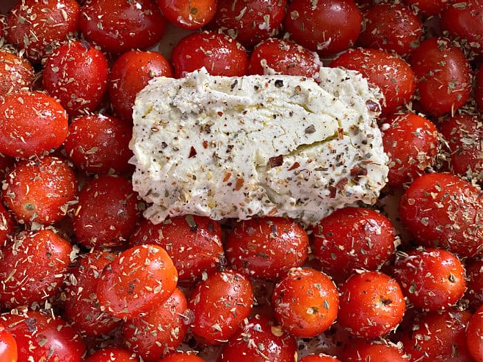 seasoned goat cheese and tomatoes