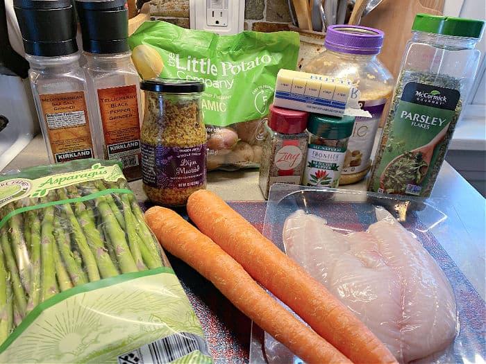 Tilapia sheet pan dinner ingredients