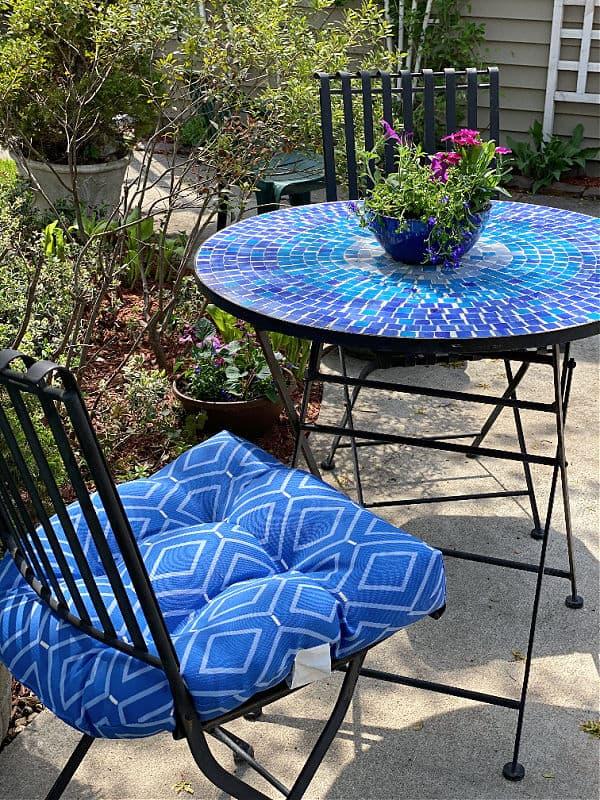 blue mosaic patio set