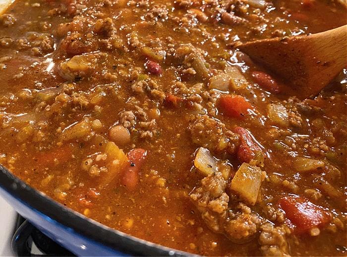 Big pot of chili on the stove