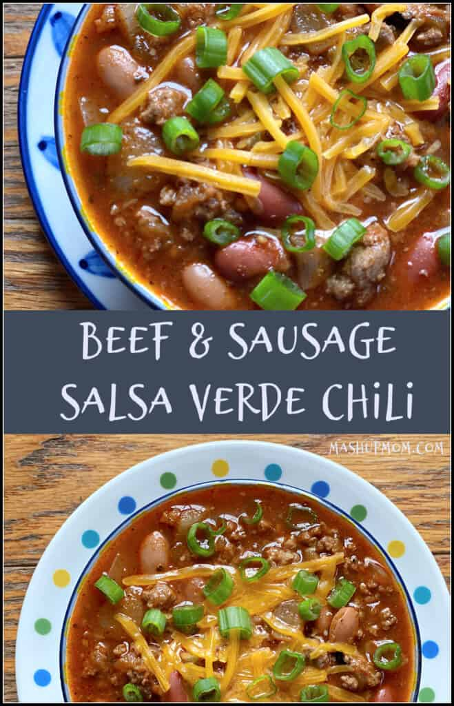 Hot breakfast sausage & salsa verde provide the perfect spicy tang in this Beef & Sausage Salsa Verde Chili recipe.