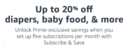 20% off diapers with Prime family