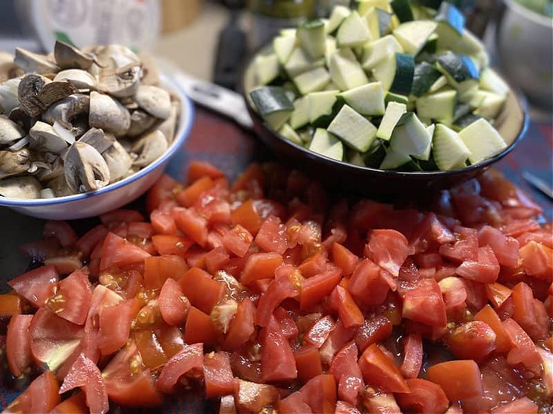cut up your vegetables for pasta